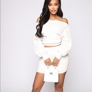 Fashion Nova Knit Me Cream Sweater Skirt Set Small